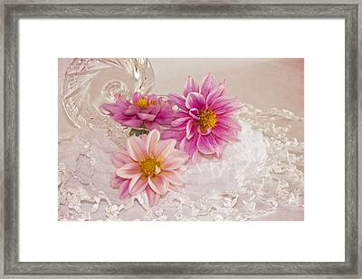 Framed Print featuring the photograph Dahlias And Lace by Sandra Foster