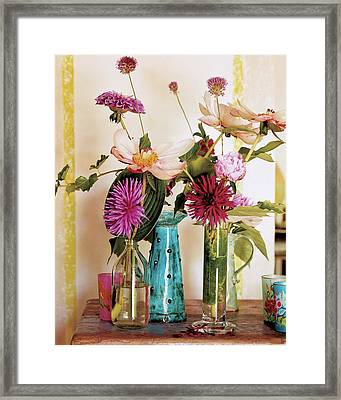 Dahlias And Peonies In Majolica Vases Framed Print by James Merrell