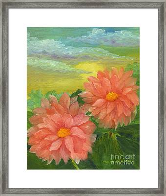 Dahlias At Sunrise  Framed Print by Maria Williams