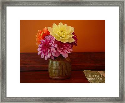 Framed Print featuring the photograph Dahlias by Christopher Mace