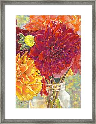 Dahlias In A Canning Jar Framed Print