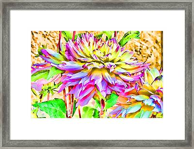 Framed Print featuring the photograph Dahlias In Digital Watercolor by Sandra Foster