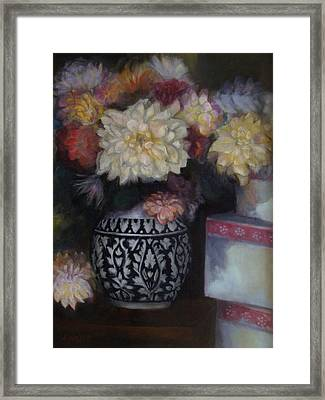 Dahlias Framed Print by Susan Hanlon