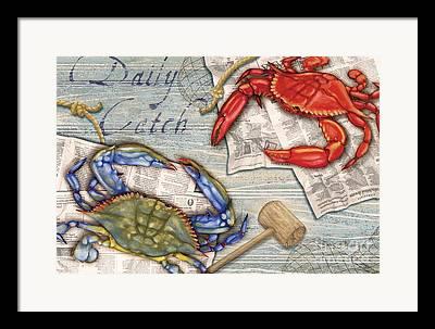 Crab Nets Framed Prints