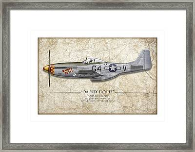 Dainty Dotty P-51d Mustang - Map Background Framed Print by Craig Tinder