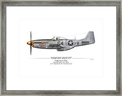 Dainty Dotty P-51d Mustang - White Background Framed Print