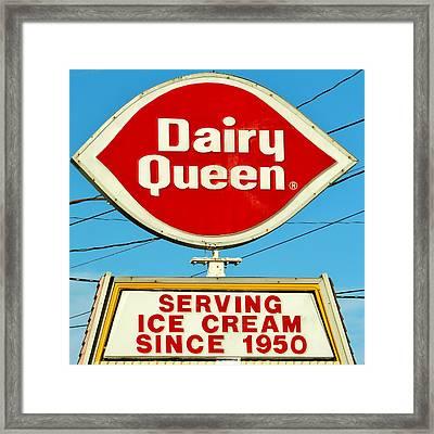 Dairy Queen Sign Framed Print by Cynthia Guinn