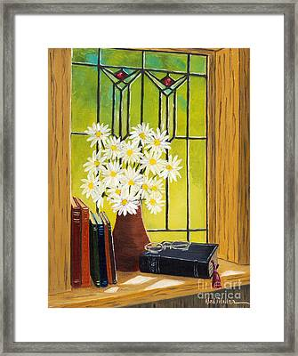 Daisies And Stained Glass Window Framed Print