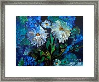 Daisies At Midnight Framed Print