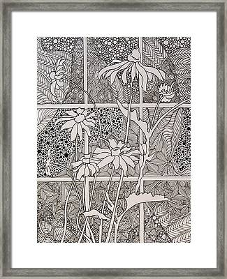 Daisies In A Window Framed Print