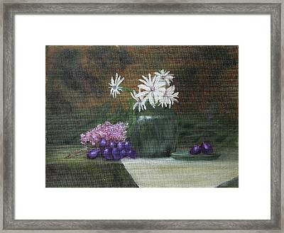 Daisies In Green Vase Framed Print