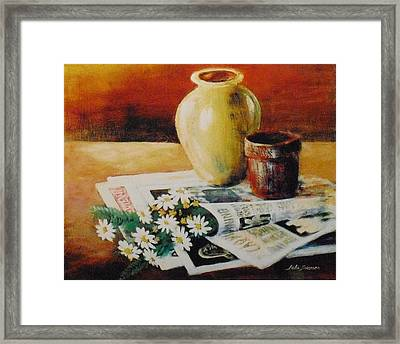 Daisies In The News Framed Print by John  Svenson