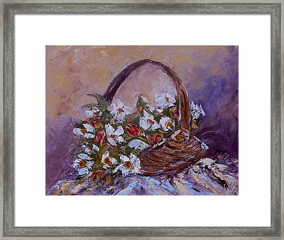 Daisies In The Old Basket Framed Print