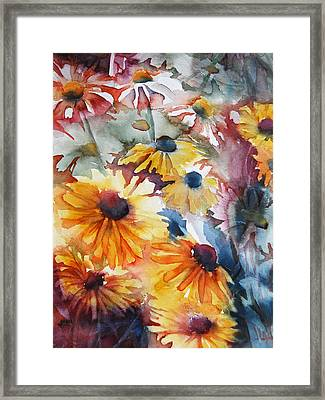 Framed Print featuring the painting Daisies by Jani Freimann