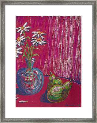 Daisies On Red Table Framed Print