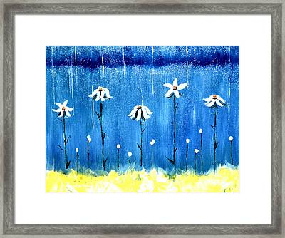 Framed Print featuring the painting Daisy Rain Blue by Denise Tomasura