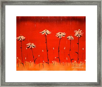 Framed Print featuring the painting Daisy Rain by Denise Tomasura