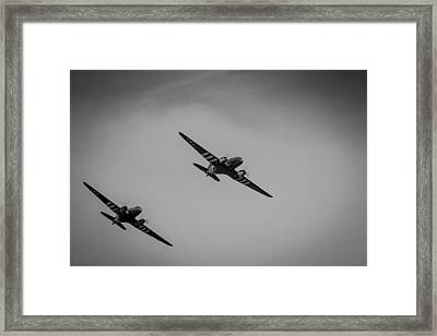 Framed Print featuring the photograph Dakota D-day Black And White by Scott Lyons