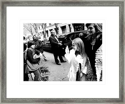 Dakota Fanning Waves To A Young Fan In Nyc 2007 Framed Print by Patrick Morgan