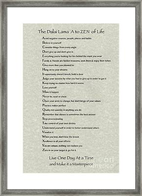 Dalai Lama A To Zen Of Life Typography On Parchment Framed Print by Desiderata Gallery
