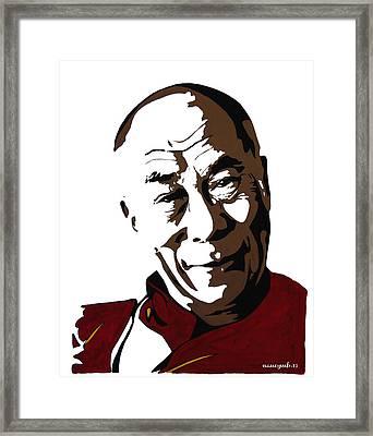 Dalai Lama Framed Print by Nancy Mergybrower