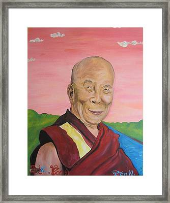 Dalai Lama Portrait Framed Print by Erik Franco