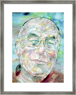 Dalai Lama - Watercolor Portrait Framed Print