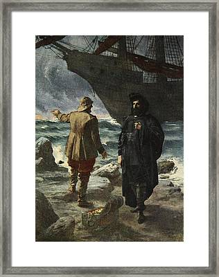 Daland Looked At The Stranger Keenly Framed Print by Ferdinand Leeke