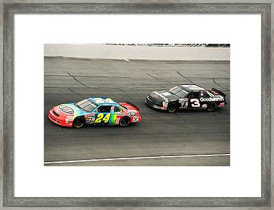 Jeff Gordon And Dale Earnhardt Framed Print