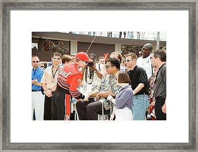 Dale Earnhardt Jr And Muhammed Ali Framed Print by Retro Images Archive