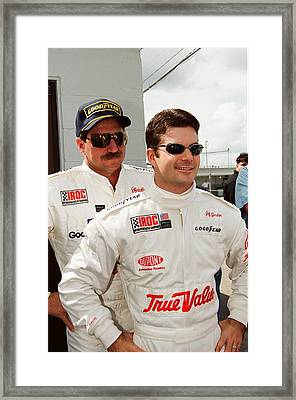Dale Earnhardt Playing Jokes On Jeff Gordon Framed Print by Retro Images Archive