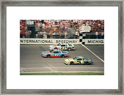 Dale Earnhardt Richard Petty And Rusty Wallace Race At Michigan Framed Print by Retro Images Archive