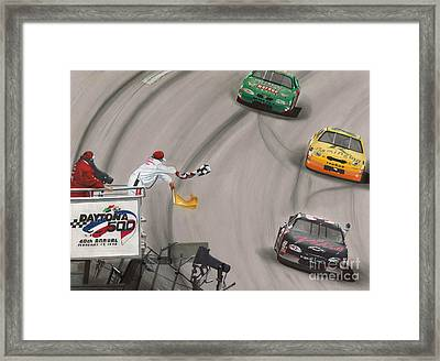 Dale Earnhardt Wins Daytona 500-checkered Flag Framed Print by Paul Kuras