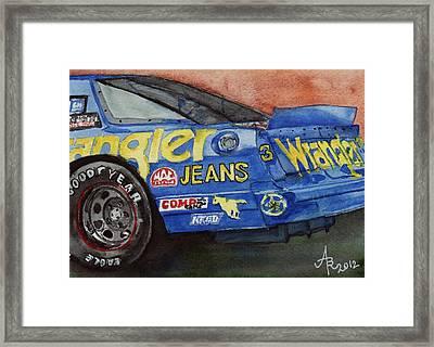 Dale Earnhardt's 1987 Chevrolet Monte Carlo Aerocoupe No. 3 Wrangler  Framed Print by Anna Ruzsan
