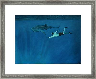 Dale Vs. The Whale Shark Framed Print by Patrick Kelly