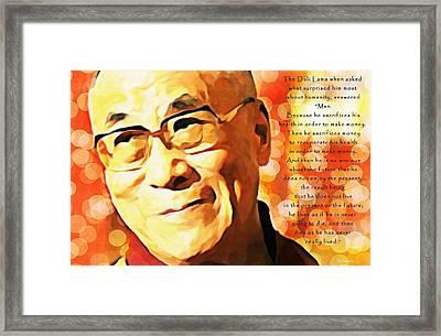 Dali Lama And Man Framed Print by Barbara Chichester