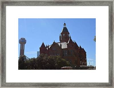 Dallas County Courthouse And Reunion Tower Framed Print by Ruth  Housley