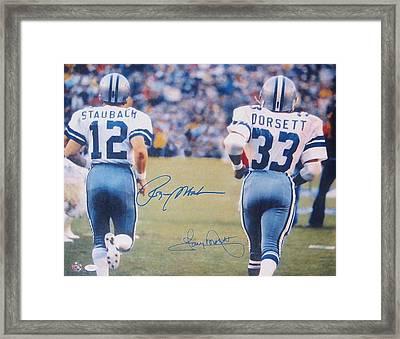 Dallas Cowboys #12 Roger Staubach And #33 Tony Dorsett Framed Print by Donna Wilson