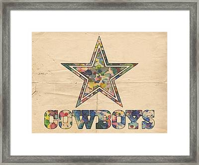 Dallas Cowboys Vintage Art Framed Print by Florian Rodarte