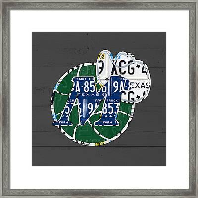 Dallas Mavericks Basketball Team Retro Logo Vintage Recycled Texas License Plate Art Framed Print by Design Turnpike