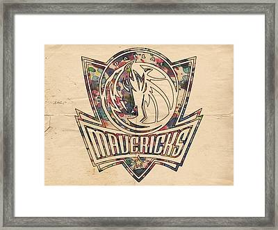 Dallas Mavericks Poster Art Framed Print by Florian Rodarte