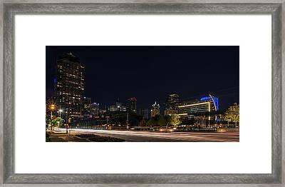 Dallas Night Skyline From Klyde Warren Park Framed Print