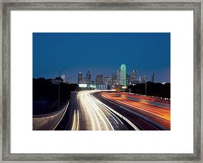 Dallas Night Skyline Light Trails Framed Print