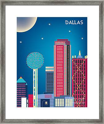 Dallas Nightime Skyline Framed Print by Karen Young