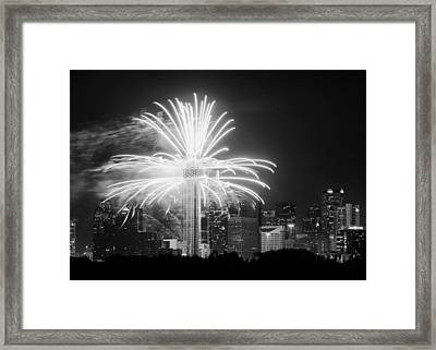 Dallas Reunion Tower Fireworks Bw 2014 Framed Print
