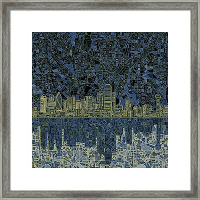 Dallas Skyline Abstract 2 Framed Print