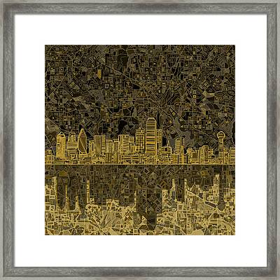 Dallas Skyline Abstract 3 Framed Print