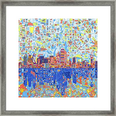 Dallas Skyline Abstract 5 Framed Print