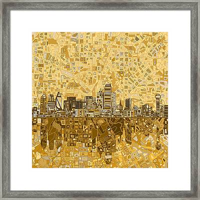 Dallas Skyline Abstract 6 Framed Print