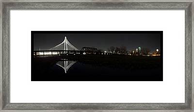 Dallas Skyline Hunt Bridge Color Framed Print
